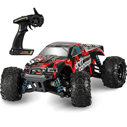 Remote Control Car,1:18 Scale RC Racing High Speed Car,4WD All Terrains Waterproof Drift Off-Road Vehicle,2.4GHz RC Road Monster Truck Included 2 Rechargeable Batteries,Toy for Boys Teens Adults