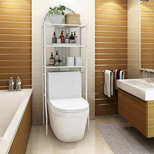 EBTOOLS Scaffale Bagno Scaffale Bagno e WC, Mobile sopra toilettes, Ripiani di Lavatrice, Scaffale Salvaspazio con Mensole Organizer, 3 Ripiani, 176.5 * 62 * 33.5cm, Bianco