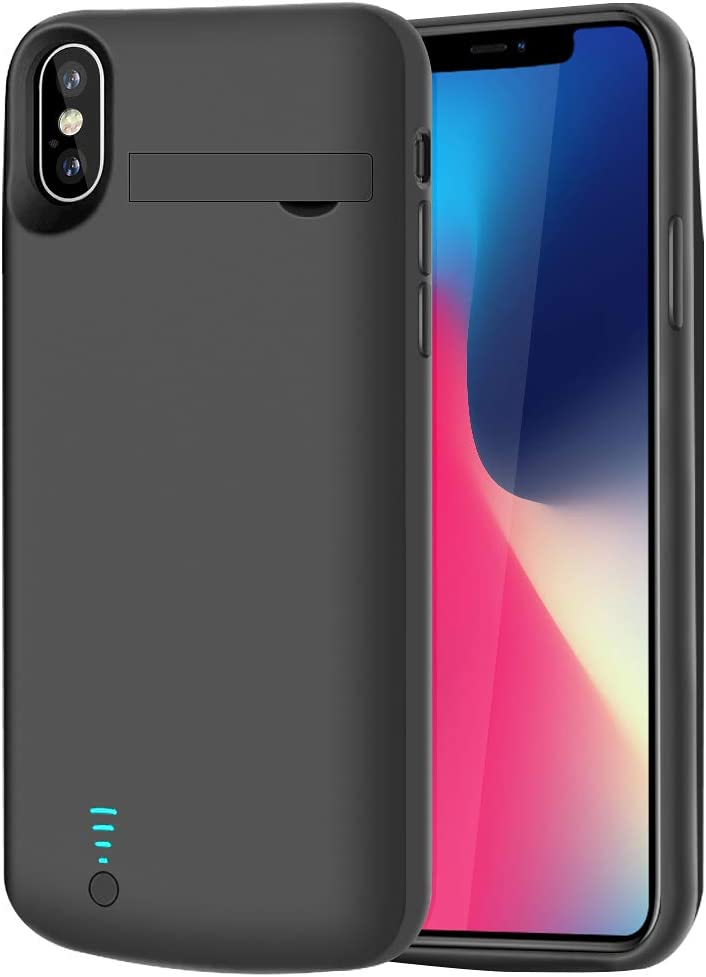 RUNSY Battery Case Compatible with iPhone X XS, 5000mAh Rechargeable Extended Battery Charging Case, External Battery Charger Case, Adds 2X Extra Juice, Support Wired Headphones (5.8 inch)