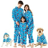 Christmas family pajamas matching sets,Flannel One Piece Pajamas Hooded zippered Pajamas for Adult Kids pets