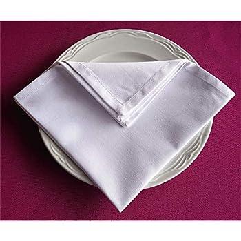 Servilletas de Tela para Restaurante Algodón - Poliester Color Blanco de tamaño 50x50 (Blanco) Pack 60. Aptas para restaurantes y Grandes Eventos Alto gramaje: Amazon.es: Hogar