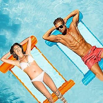 2-Pack Inflatable Pool Float Hammock (Blue, Orange)