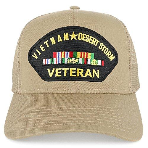 Armycrew Vietnam and Desert Storm Veteran Embroidered Patch Snapback Mesh Trucker Cap - Khaki