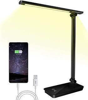 SunTop Lampe de Bureau LED, 3 Niveaux de Luminosité 5 Modes de Couleur avec Tête de Lamp Rotative et Réglable, Contrôle Ta...