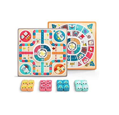 Juegos de mesa de madera para niños, juego familiar de ajedrez volador 2 en 1, juegos de mesa de lujo para niños, juguetes temáticos de tráfico para niños pequeños