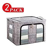 Cfbcc Lot de 2 Boîtes de Rangement Sacs Organisateur avec Double Ouverture Zips Clair de Windows for Stocker Couettes vêtements Literie sous Le lit Closet Armoire Box (Size : 39x29x20cm)
