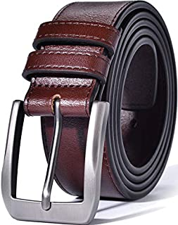 "Beltox Fine Men's Casual Leather Jeans Belts 1 1/2"" Wide 4MM Thick Alloy Prong Buckle Work Dress Belt for Men"