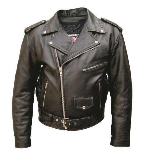 Men's Basic Premium buffalo leather jacket w/ 6 pockets and quilted Lining AL 2010-46