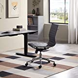 Belleze Adjustable Mid-Back Armless Karina Office Conference Task Chair Faux Leather Soft Ribbed Swivel, Black