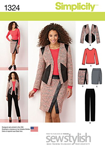 Simplicity Sewstylish Pattern 1324 Misses Slim Pants, Mock Wrap Skirt, Lined Jacket and Knit Top Sizes 8-10-12-14-16