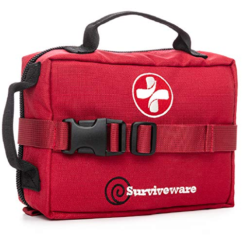 Surviveware Survival First Aid Kit, Labeled Compartments, Removable MOLLE Compatible System, Red