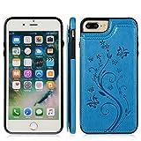 FHZXHY - Funda tipo cartera para iPhone 7 Plus/8 Plus con tarjetero, diseño de mariposa en relieve, piel sintética, doble botón magnético, a prueba de golpes, funda protectora para iPhone 7 Plus/8 Plus