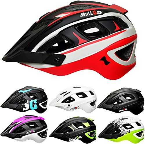 Skullcap® Fahrradhelm & MTB Helm + Visier für Herren & Damen (olympTRAIL, L (59-61 cm))