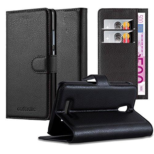 Cadorabo Hülle für Alcatel OneTouch POP S7 - Hülle in Phantom SCHWARZ – Handyhülle mit Kartenfach & Standfunktion - Case Cover Schutzhülle Etui Tasche Book Klapp Style