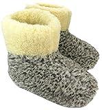 Unisex Puur Schapenwol Warm Wol Pantoffels Boots Schapenvacht OLE (38, Grijs)