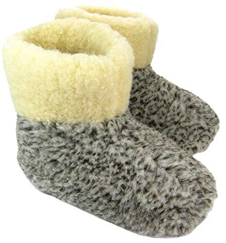 Estro Herren Damen Hausschuhe Reine Wollhausschuhe - Hüttenschuhe Stiefel Warm Winter Wolle Warme Winterhausschuhe Schafswolle Mit Fell Schafwolle OLE (46 EU, Grau)