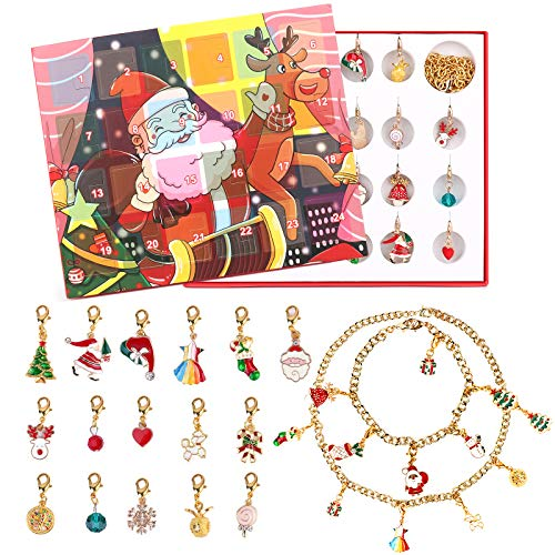 HOMENOTE Countdown Advent Calendar, 24 Jewelry for Day Surprise Countdown Calendar Christmas Jewelry Box for Kids 2020