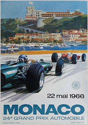 WallBuddy Monaco F1 Poster 1966 F1 Grand Prix Poster Grand Prix Poster Auto Racing Print Motorsport, 50 x 70 cm