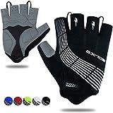 Souke Sports Cycling Bike Gloves Padded Half Finger Bicycle Gloves Shock-Absorbing Anti-Slip Breathable MTB Road Biking Gloves for Men/Women Black X-Large