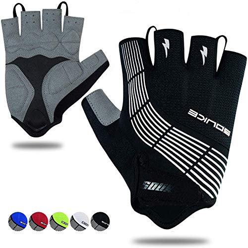 Souke Sports Cycling Bike Gloves Padded Half Finger Bicycle Gloves Shock-Absorbing Anti-Slip Breathable MTB Road Biking Gloves for Men/Women Black Large