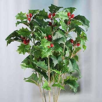 Factory Direct Craft Artificial Mixed Holly Leaf and Red Berry Bush for Holiday