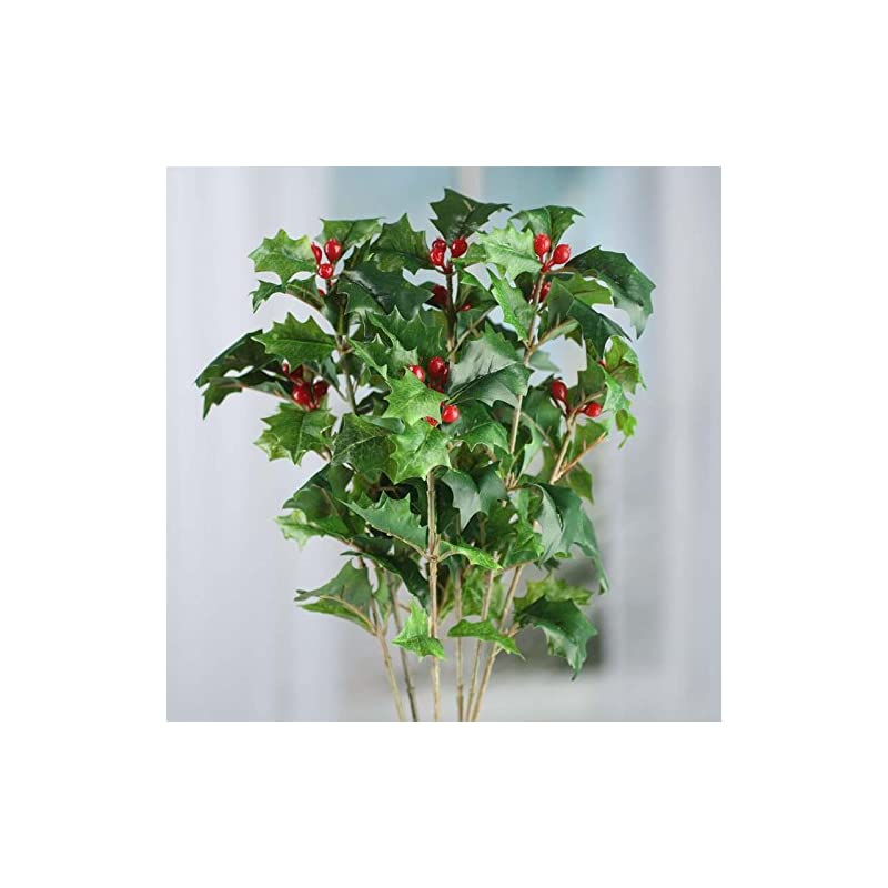 silk flower arrangements factory direct craft 16 inch realistic artificial holly leaf and red berry spray - for christmas decorating, holiday flower arrangements and diy crafts