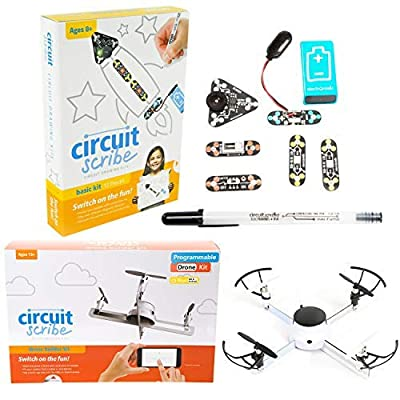 Circuit Scribe Drone Builder Kit and Circuit Drawing Basic Kit Bundle   Build Your Own Drone with Camera   Home School Science Experiment, STEM Activity & Projects for Kids
