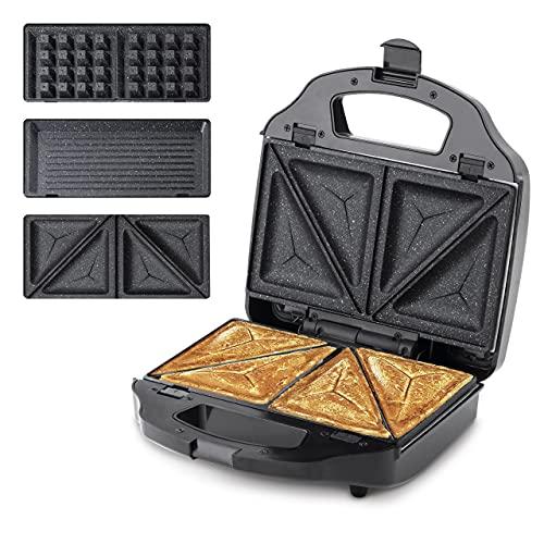 Ufesa SW7950 Sandwichera 3 en 1 Cook&Fun, 900W, Grill, Gofres y Sandwiches, Placas Antiadherentes Extraibles, Sin BPA, Inox