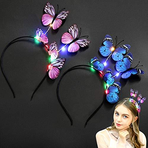 LED Butterfly Headbands, Coxeer 2PCS Light up Hair Hoop Party Headbands for Women Girls Kids Led Hair Accessories Christmas Halloween Party Supplies