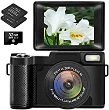 Digital Camera Vlogging Camera with Flip Screen, 32GB...