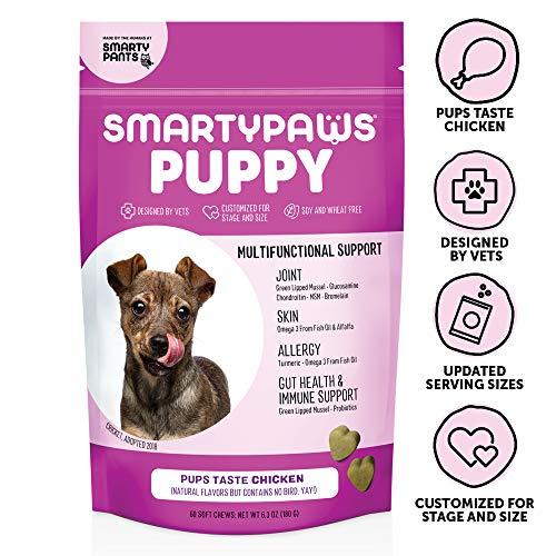 SmartyPaws Dog Supplement Chews for Puppies, Chicken Flavor, 60 ct