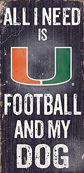 Fan Creations C0640 University of Miami Football and My Dog Sign Black/White/Orange/Green  6  x 12