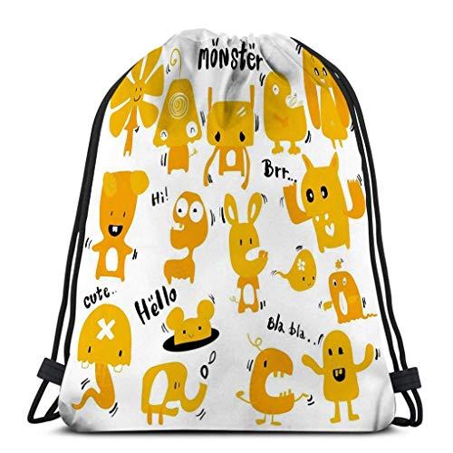 KKs-Shop Mochila con cordón Bolsa Bolso de Hombro para Senderismo Natación Doodle Monstruos Lindos Dibujado a Mano Color…