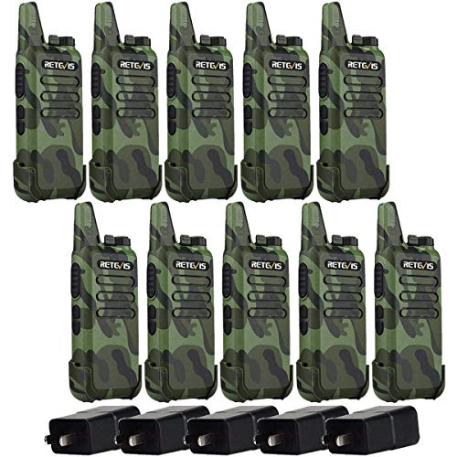 Retevis RT22 Walkie Talkies, 2 Way Radios Long Range, Rechargeable Two Way Radio, for School Retail Warehouse (10 Pack, Camouflage)