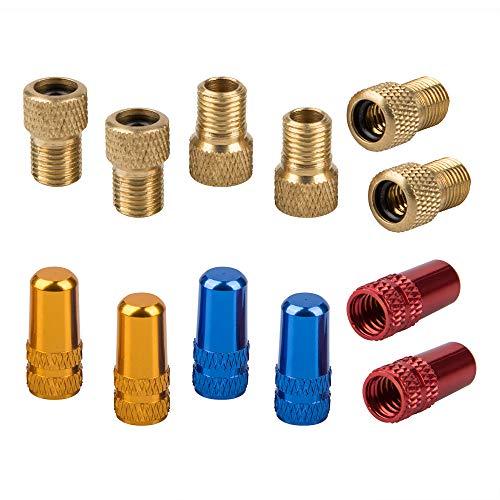YuCool Fahrrad-Presta-Ventiladapter und Reifenventilkappen, Presta-zu-Schrader-Schlauchpumpen-Konverter mit 3 Paar Luftkappen für Reifen (Gold, Blau und Rot), 12 Stück