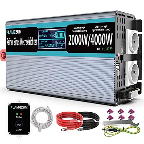 2000W Convertisseur Pur Sinus 12v 220v Onduleur - 2 Prise Française de Courant Alternatif et 2 Port USB - avec Affichage LED Intelligent, Télécommande et Deux Ventilateurs de Refroidissement