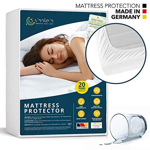 sinnlein® waterdichte matrasbeschermer 140 x 200 cm - ademende matraslegger molton, Standard 100 by Oeko-TEX®, Made in Germany, matrasbescherming zonder knisperen