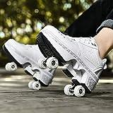 JTKDL Wheels Skates Roller Shoes,Zapatillas De Deporte Casuales para Hombres Patines para Caminar, Patines De Cuatro Ruedas,Silver-EU37/UK4