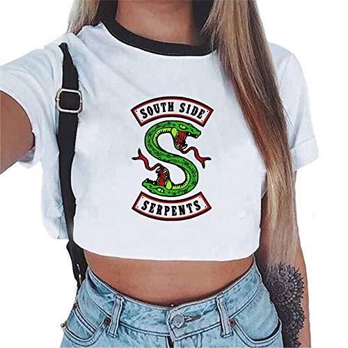 Générique Femme Crop Top T-Shirt Riverdale Imprimé Manches Courte Summer Chemise Chic Shirt Tops pour Ado Fille
