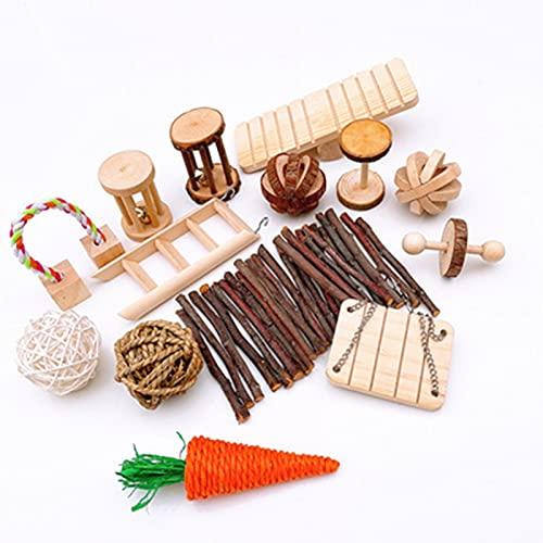 HYDT 14 st tuggleksaker för husdjur hamster, naturligt trä träningsleksaker för marsvin hamster kaniner set för tandvård och träning