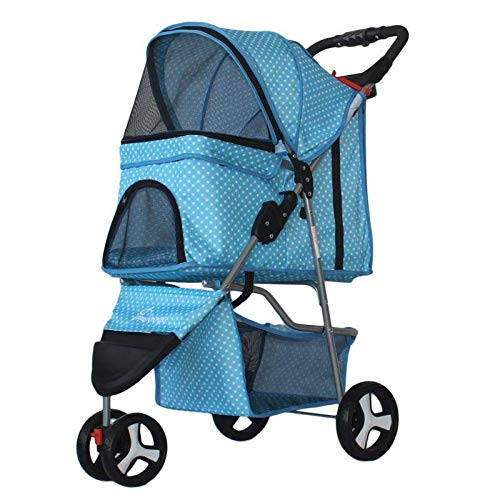 xingxing Pet Supplies Carro ligero plegable para mascotas con tres ruedas, carrito para mascotas al aire libre, carrito de viaje para mascotas para perros y gatos (color: azul)