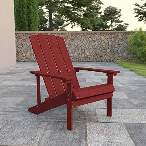 Flash Furniture Charlestown All-Weather Adirondack Chair in Red Faux Wood