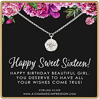 Sweet 16 Gift for Girls • Diamond Starburst Pendant • Happy 16th Birthday • 925 Sterling Silver • Sixteen Years Old • For Daughter Niece Goddaughter • Dainty Necklace • Milestone Celebration Jewelry