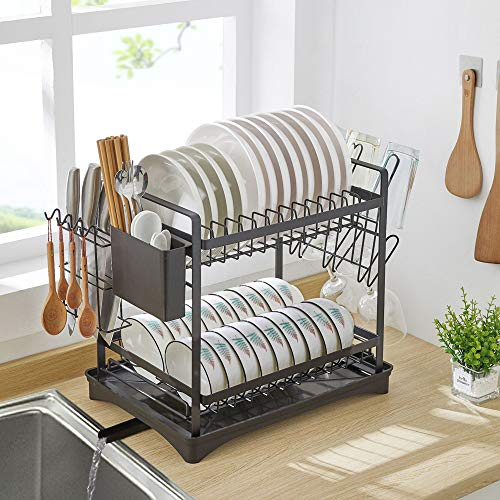 Dish Drying Rack, 2 Tier Dish Rack with Utensil Knife Holder and Cup Rack Fork & Spoon Holder for Kitchen Counter Organizer Storage, Black