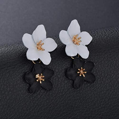 LIUL Pendientes de Color Mezclado de Flores Dobles Grandes de diseño a la Moda para Mujer Pendientes exagerados de Boda de Fiesta de Estilo Veraniego, Negro Blanco