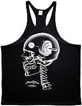 Ironville Think Heavy - Barbell Bodybuilding Stringer Skull Tank Top (XL, Black)