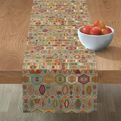 Roostery Tablerunner, Kilim Illustration Fall Autumn Colors Turkish Inspired Geometric Boho Travel Print, Cotton Sateen Table Runner, 16in x 90in
