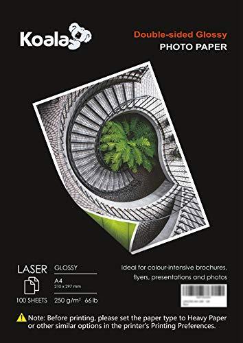 KOALA Papel fotográfico láser brillante de doble cara, A4, 250 g/m², 100 hojas, 210x297mm, para todas las impresoras y copiadoras LASER