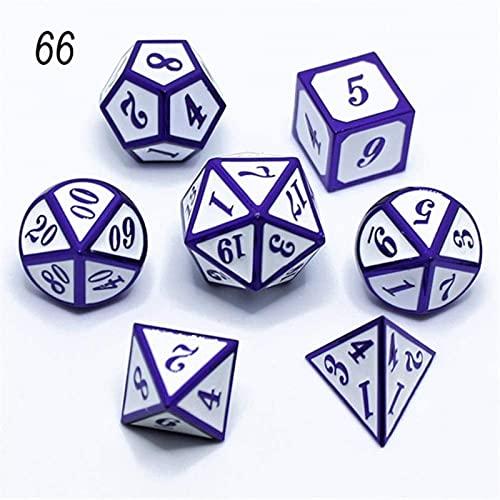 JUNEJULY 7 unids / Set DND Metal RPG Kit de Dados Polyedral Dungeons and Dragons D20 10 8 Juegos de Mesa Verde Aleación de Zinc Patrón Digital Dados