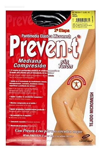 Pantimedia Preven-t, Clásica Prevención y Control De Varices, Mediana compresión 15-20mm/Hg (Grande, Negro)